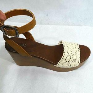 Cato Crochet Wedge Platform Heels Sandals Size 8